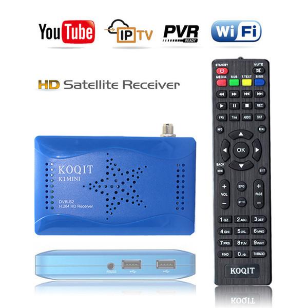 kOQIT K1 Mini décodeur gratuit Récepteur TV Box satellite Tuner TV numérique DVB-S2 Récepteur Wifi Satellite Youtube Autoroll Cccam / Biss Key / vu