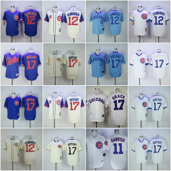 new style 991e7 86878 2019 Cheap Chicago 11# DARVISH 12# SCHWARBER 17# BRYANT White Blue Retro  Baseball Throwback Jerseys Shirt Stitched From Honest First, $16.35 | ...