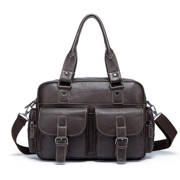 Genuine Leather Men Briefcase Business Bags Male Office Work Laptop Bags Men Travel Bag attache brief case portfolio man lawyer