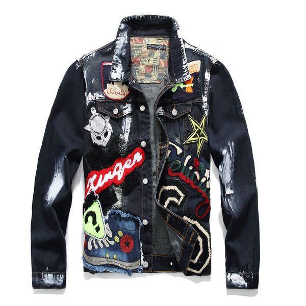 Heavy Washing Destroyed Denim Jacket Men High Street Ripped Jeans Jackets Men's Multi Badge Beauty Patchwork Denim Jacket Black
