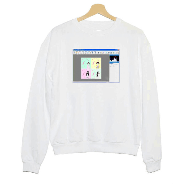Hillbilly J-848 Sweatshirt Girl Feelings Window Personality Print Women's Long Sleeve Polyester Hoodies New Women's White Shirt