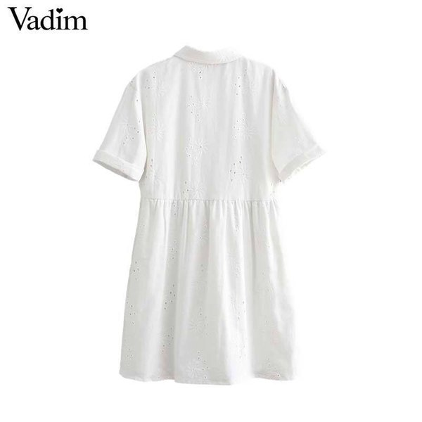 2019 women embroidery hollow out mini dress short sleeve turn down collar white sweet casual shirt dresses vestidos QB395