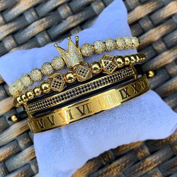 Aghion Jewelry Pulseras Lujo Relor Royal Crown Charm Pulsera Hombres Moda 2020 NUEVO Pulsera de hombres ajustables trenzados de oro para Hip Hop Je ...