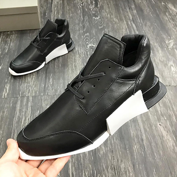 2018 American luxury brand trend men's sports shoes with exquisite outsole leather strap design high-grade outdoor casual running qi