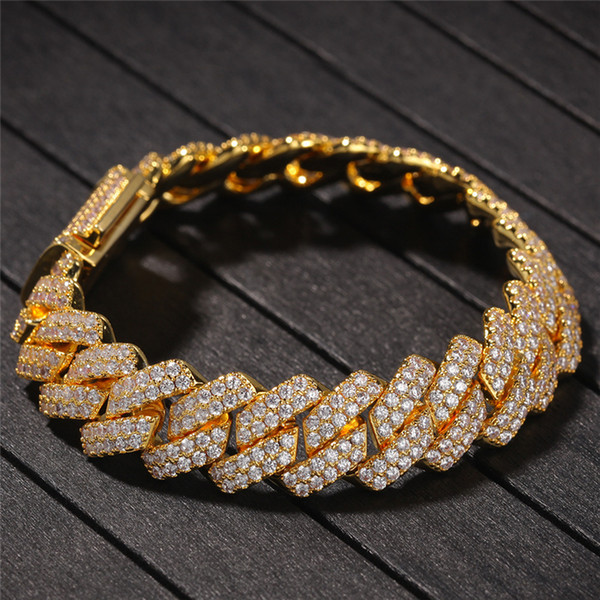 Men Luxury Bracelets Chains Yellow White Gold Plated Iced Out Cubic Zircon 13MM 20cm Cuban Bracelet Male Punk Jewelry