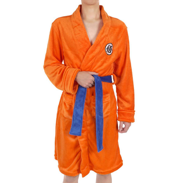 Anime Cosplay Costumes Son Goku Women Men Flannel Pajamas Robes Daily Casual Bathrobe Warm Winter Thicken Jumpsuits