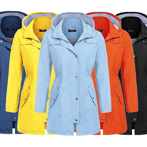 Women Outerwear Casual Waterproof Long Sleeve Polyester+Cotton Zipper Coats S M L XL XXL Lady Hooded Coats
