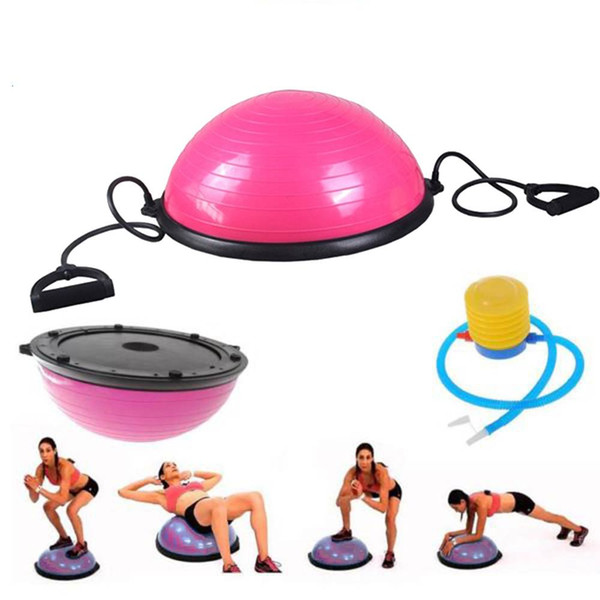 PVC and ABS Yoga ball Balance Hemisphere Fitness Supplies for Gym Office Home Exercise Pink Color