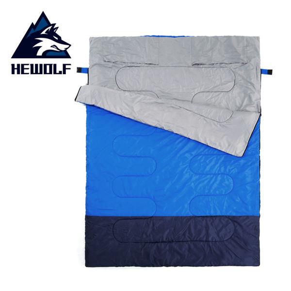 Hewolf Yetişkin açık kamp uyku tulumu zarf desen çift sevgilisi seyahat sıcak hava kullanımı iki uyku tulumuna bölünebilir
