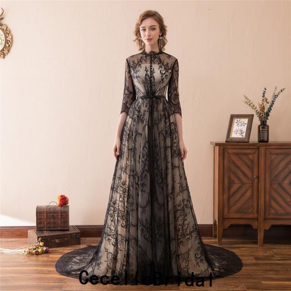 Robe de mariée gothique A-ligne Vintage Black Lace 2019 avec manches longues doublure nude robe de mariée Boho non blanc avec la couleur de vraies photos