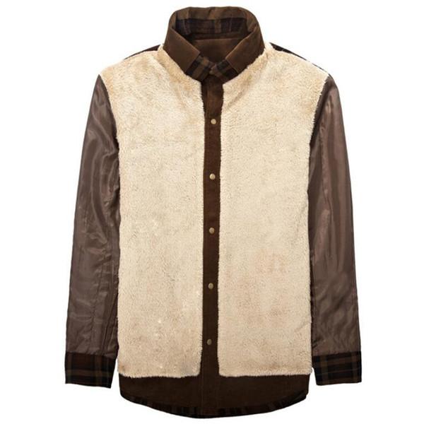 Winter Plaid Shirt Men 100% Cotton Liner Fleece Shirts Mens Outerwear Thick Warm Wool Velvet Military Long Sleeve Shirt