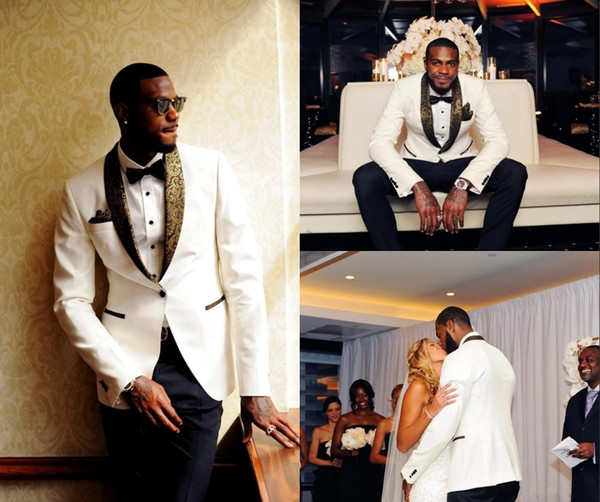 Custom Handsome Two Pieces White Wedding Tuxedos Slim Fit Gold Pattern Laple Suits For Men One Button Groomsman Suit (Jacket+Pants+Bow Tie)