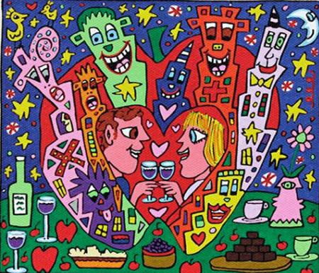 James Rizzi - BIG APPLE ROMANCE Home Decor Handcrafts /HD Print Oil painting On Canvas Wall Art Picture 191223