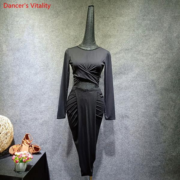 2018 New Autumn Winter Latin Dance Suit Long Sleeves top+ Irregular skirt 2Pcs Set Fort Women Dancing Practice Costumes