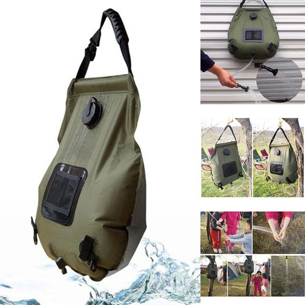 Outdoor Bathing Bag Camping Solar Hot Water Kit Bag Portable Army green 20L Water Storage 0.55kg