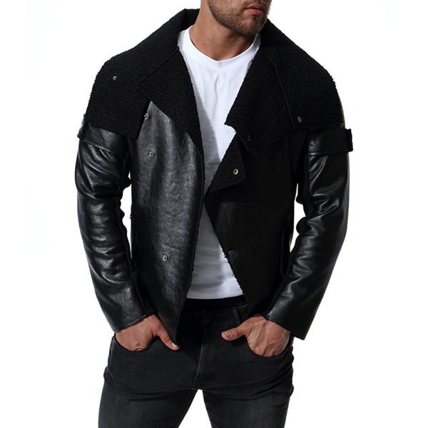 Jaqueta de couro dos homens reais motociclista mens faux casacos de pele zipper à prova d 'água veste de cuir primavera outwear roupas masculinas