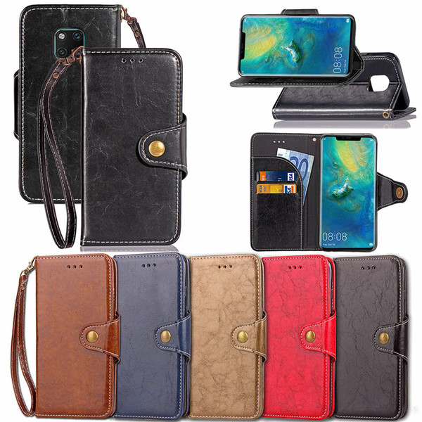 Case for Huawei Mate 20 Pro Classic Retro Business Style with Wallet Card Slot Hand Strap 210 Models for Option