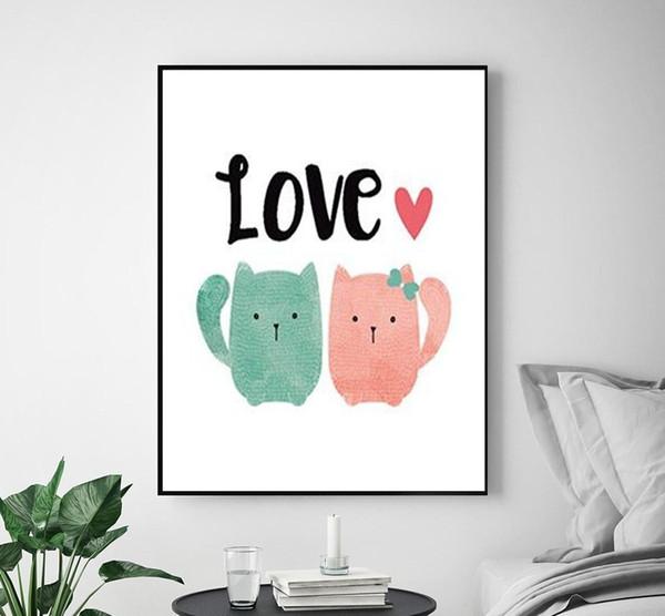Cute Animals Love Cat Cartoon Poster Printing Kindergarten Art Decorative Wall Painting Children Baby Room No Frame