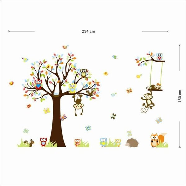 Colorido Ardilla Bosque Animal Mono Búhos Árbol Etiqueta de La Pared Etiqueta de La Pared Mural Decal Kids Home Decor