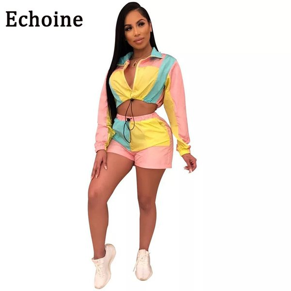 Echoine Colour Patchwork Sexy Two Pieces Of Outfits For Women Long Arm Tops + Short With Zipper Pants Women's Training Suit Set Y19071301