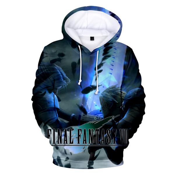 2019 Eğlence Baskı Final Fantasy VII 3D Hoodies Erkek Kadın Kazak Harajuku Japon Anime Film Final Fantasy VII 3D Hoodies