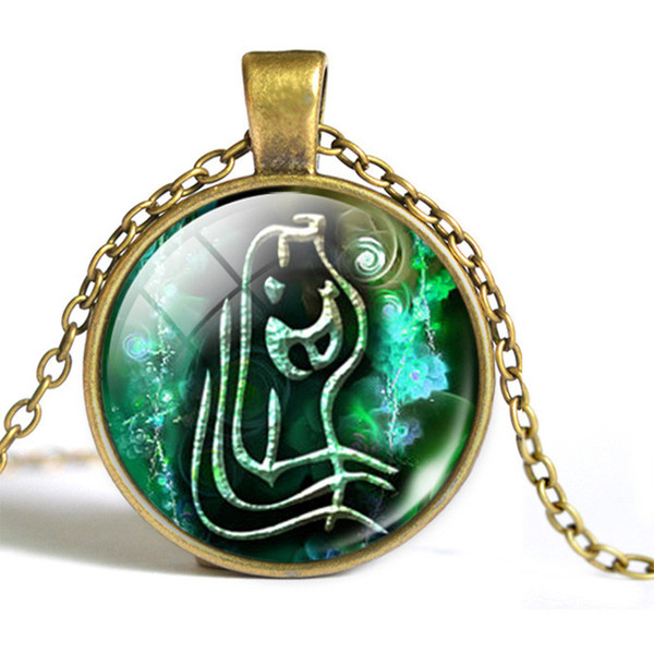 New Arrival 12 Constellation Zodiac Aquarius Time Gem Glass Dome Pendant Necklaces For Women Men Chain Choker High Quality Jewelry Wholesale