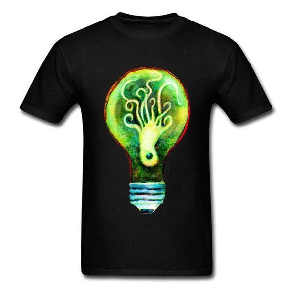 Order T Shirts Short Cotton Crew Neck Mens Octopus Bulb Cartoon Shirts