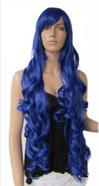 "WIG Free Shipping 33"" Heat resistant Long Bang Dark Blue Spiral Wavy Cosplay Party Hair Wig"