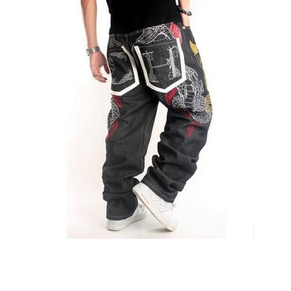 Sıcak Satış 2019new Erkek Özgün Tasarım Tam Boy Baggy Kot adamın Kot Hip Hop Kaykay Nakış Kot Yüksek Sokak Pantolon