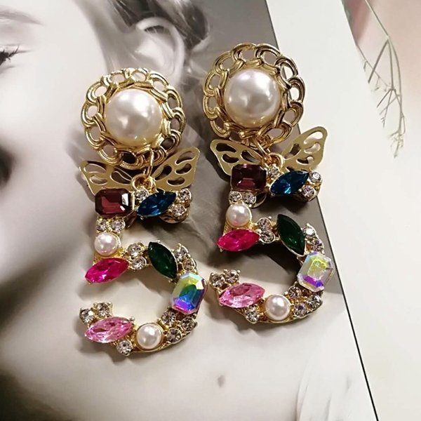 Mimiyagu Style Big Statement Drop Dangle Crystal Earrings For Woemen 5 Digital Baroque Pearl Butterfly Drop Cc Earrings SH190725