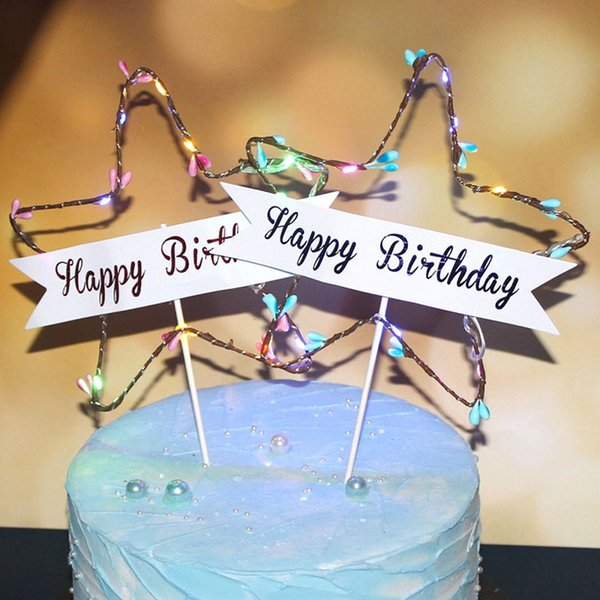 Happy Birthday Star Cake Toppers LED Sweet Love LED Cake Top Flags for Baby Shower Birthday Weddding Decorations