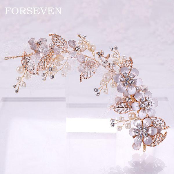 Pearl Flower Rhinestone Hair Clip Barrette Headbands Wedding Hairpin Headwear Accessories Jewelry For Woman