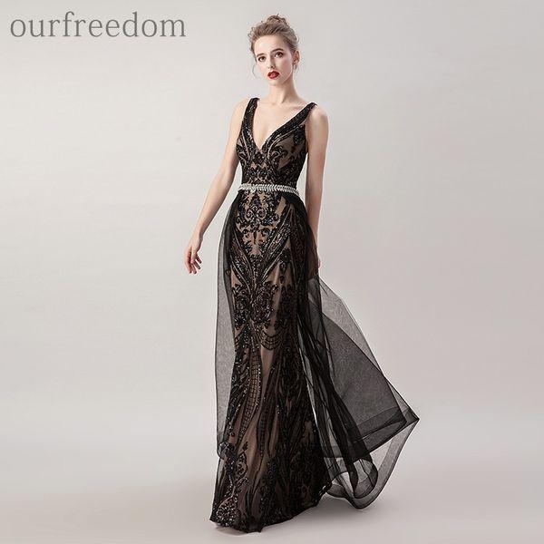 2019 Vintage Overskirt negro vestidos de noche con cuello en v Dubai lentejuelas de estilo árabe Criss Cross Back con cuentas de cristal diseñador Vestidos para ocasiones