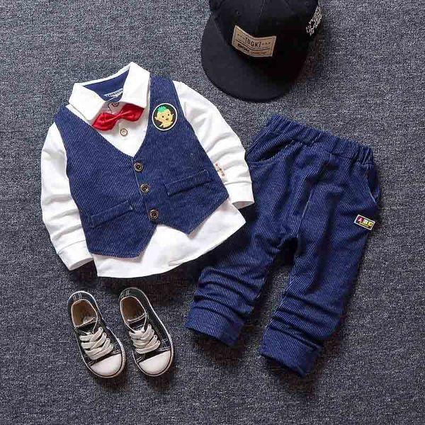 BibiCloa 2019 autumn spring baby boys clothes suits newbron fashion long sleeve bow shirt+solid color vest+pants 3pcs sets