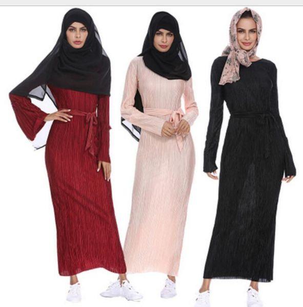 2019 New Arabian Muslim Cotton Casual Wear Explosion Fashion Robe Dress