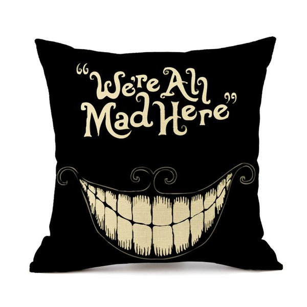 Halloween Party Mad Smile Pumpkin Cushion Cover Oil Painting Beige Linen Pillow Case 45X45cm Bedroom Sofa Decor