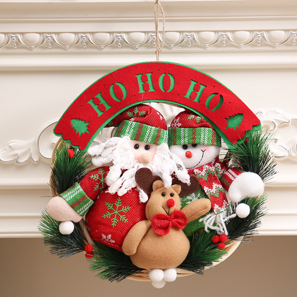 Christmas Decorations Santa Clause Snowman Elk Hanging Ornament Christmas Wreath Garland Decoration Home Decor A8B42 T191017