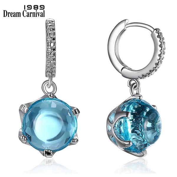 DreamCarnival1989 vente chaude coupe spéciale Cubic Zircon boucles d'oreilles pour femme bleu ciel couleur pierre élégant bijoux gros WE3819