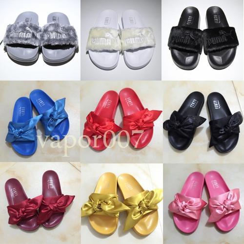 2019 nouveau designer de mode plage glisser sandales Rihanna fourrure pantoufles hommes femmes tongs fluffy luxe piscine chaussures casual