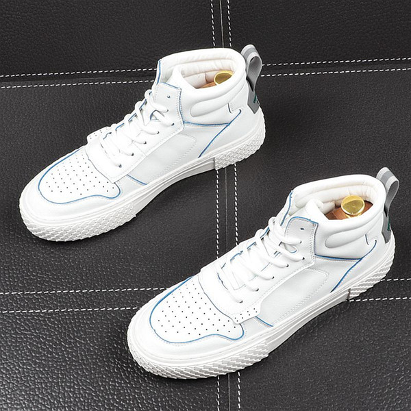 uomini-alte cime sportiva bianca e scarpe per il tempo libero dei giovani scarpe da uomo studenti selvatici fondo spesso è aumentato trasporto libero dei pattini 43