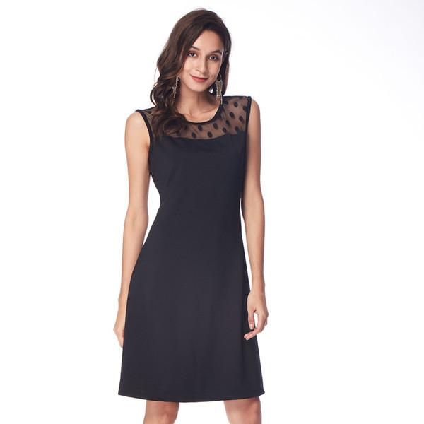 Плюс Размер Sexy Back Dots Сращивание Кружева Dress Женщины Черный Party Office Длиной До Колен Рукавов Vestidos Элегантный