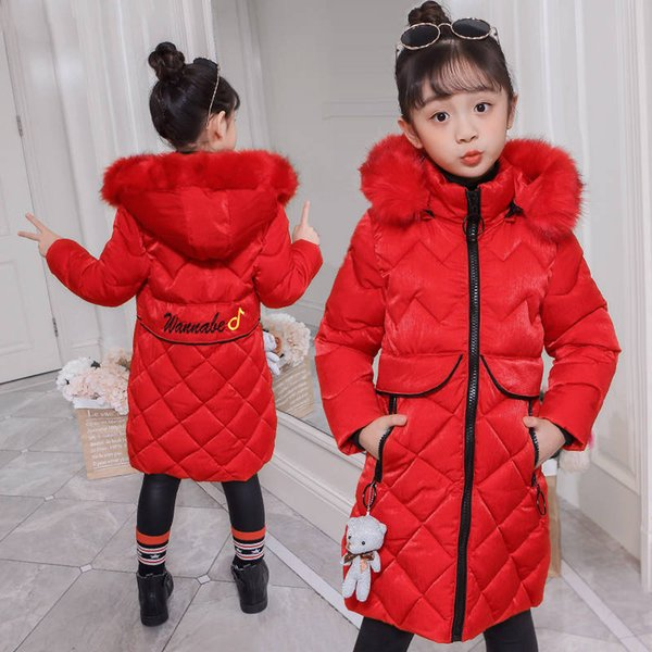 Inverno 2019 Novas Meninas Casaco de Inverno Outerwear Casacos de Algodão Menina Jaqueta Grossa Para Meninas Longo Algodão-Roupas Acolchoadas