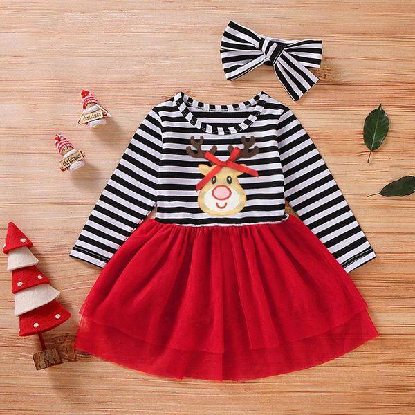 Mein erstes Weihnachten Baby Weihnachten Kleid Kleinkind-Baby-Rotwild-gestreiftes Drucken Tüll-Kleid + Stirnband Outfits Kleid