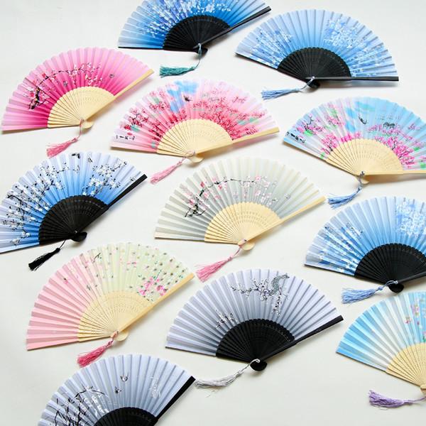 Kadınlar Katlanır Hayranları Kiraz Çiçekleri Bambu El Fan Ipek Fan Masa Dekor Sanat Ve El Sanatları Ücretsiz Shiping