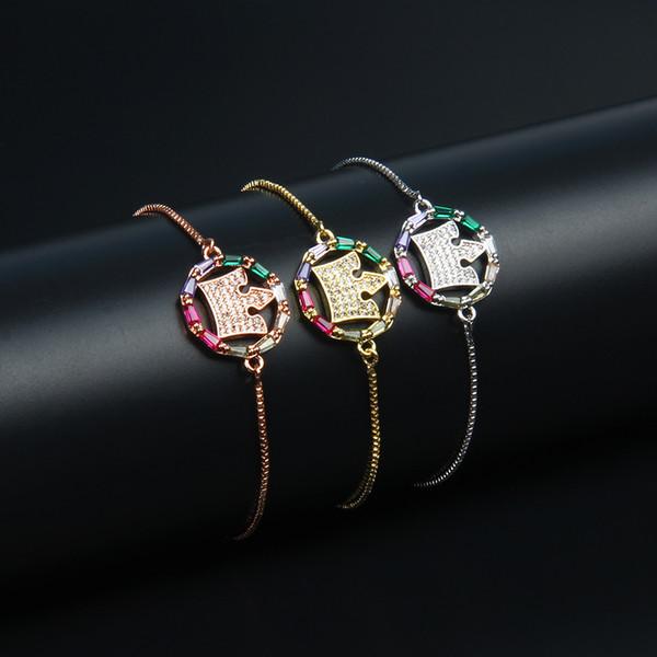 New Luxury Designer Rainbow Cz Crown String Bracelet Women Colorful Rainbow Gold Filled Cz Bracelets Stainless Steel Wedding Jewelry Gift