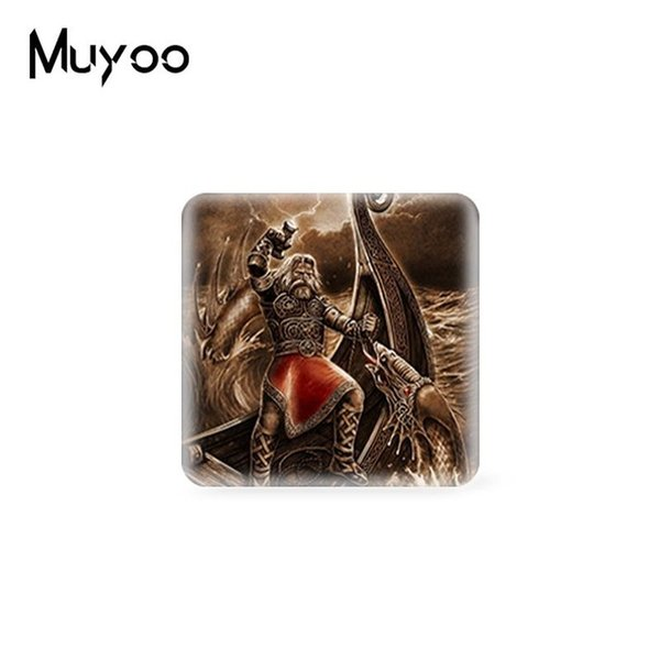 Wholesale 2019 New Arrival Viking Funeral Square Glass Dome Cabochon Art Photo Handmade Jewelry Cabochons Gifts