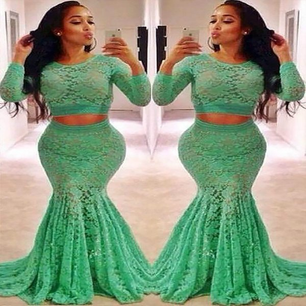 Beautiful Green Prom Dresses Mermaid With Lace Long Sleeves Jewel Neckline 2 Piece Evening Dress plus size Sexy Sheer Neck Formal Maxi Prom