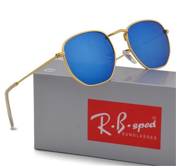 Großhandelsgeometrie-Sonnenbrille-Frauen-Männer uv400 Objektiv-Sonnenbrille-Mens-Legierungs-Rahmen-Brillen Oculos De Sol mit braunen Kästen und Kasten