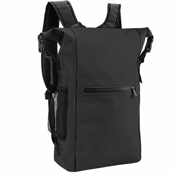 Sac à dos imperméable à l'eau, 25L Roll Top léger Sac sec flottant avec sangles réglables et extérieur poche zippée pour extérieur Sport