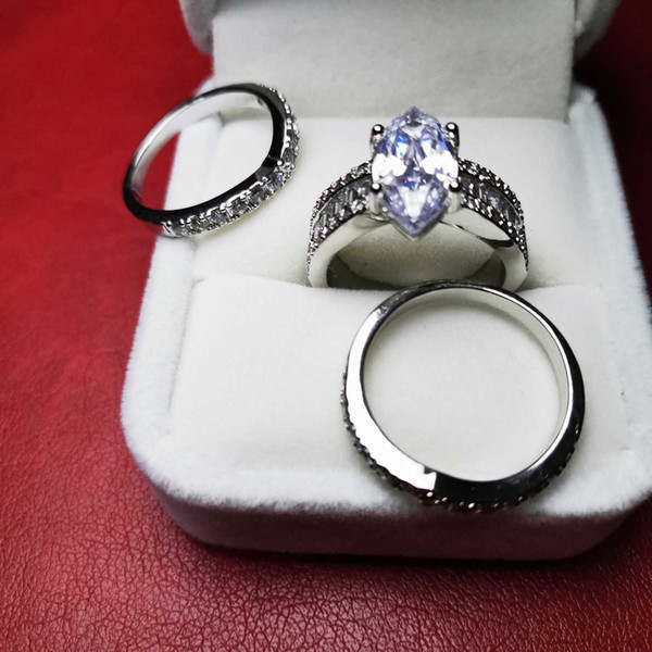 3 Piece Stackable Rings Sets For Women Fine Jewelry 925 Silver Imitation Diamond Ring For Wedding Size 6 To 10 Top Designer High Quality